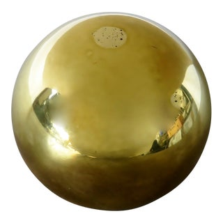 Vintage Brass Spherical Paperweight For Sale