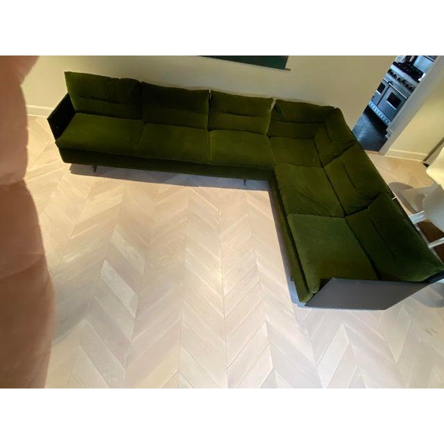 Poltrauna Frau Gran Torino Sofa. Scalamadre velvet cushions in deep green. Black leather backing, bronze legs. Near new...
