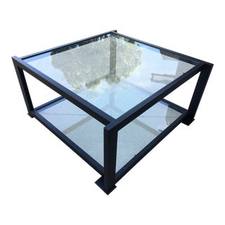 1980s Modern Knoll Square Metal and Glass Two Tier Coffee Table For Sale