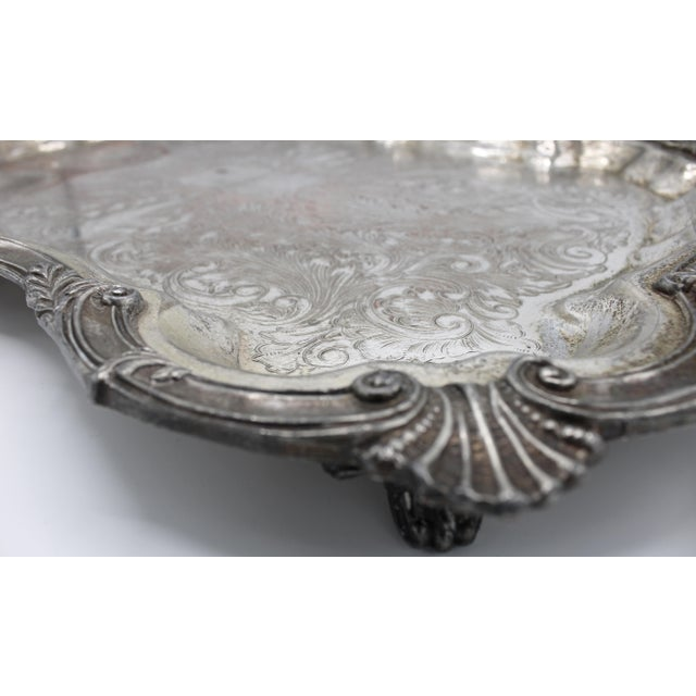 Extra Large Silver Plate Footed Serving Tray With Handles, circa 1890. Lovely antique footed serving tray with beautiful...