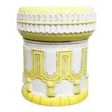 Image of ItalIan White & Yellow Terracotta Garden Stool