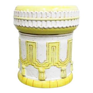 ItalIan White & Yellow Terracotta Garden Stool