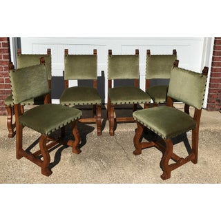 Early 20th Century French Louis XIII Os De Mouton Green Mohair and Wood Dining Chairs - Set of 6 Preview