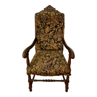 19th Century Carved Oak Arm Chair for Restoration For Sale