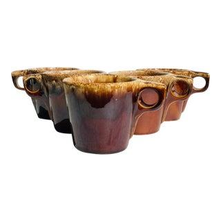 Vintage Hull Brown Drip Mug - Set of 5 For Sale