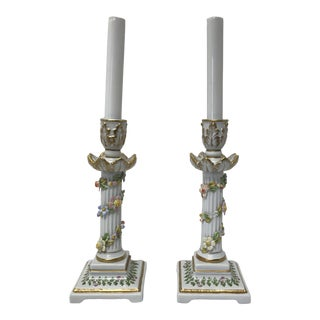 Early 20th Century Antique Capodimonte Candlestick Lamps - a Pair For Sale