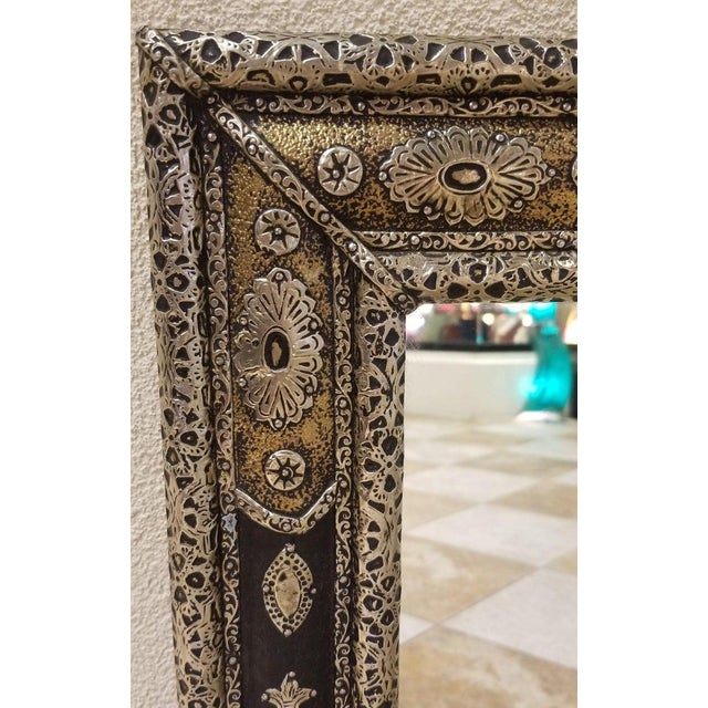 Moroccan Rectangular Metal Inlaid Mirror For Sale In Orlando - Image 6 of 8