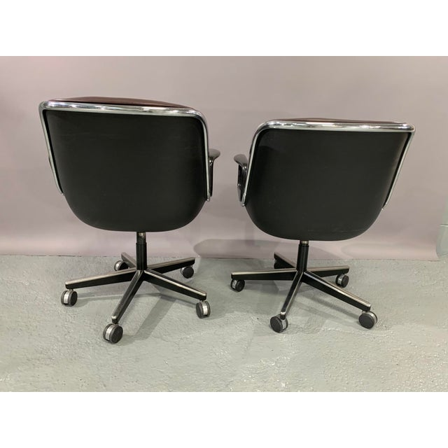 Metal Leather Executive Chairs by Charles Pollock for Knoll International - a Pair For Sale - Image 7 of 12