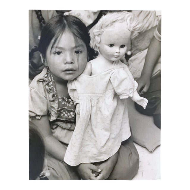 """Vintage Photograph """"Cultural Confusion -A Navajo Schoolgirl With Her White Doll"""" by Paul S. Conklin For Sale"""