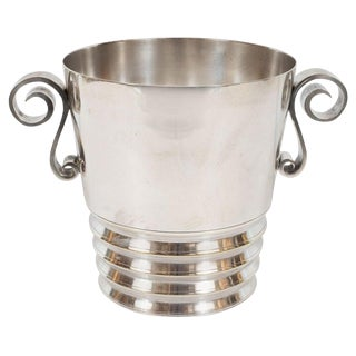 Art Deco French Silver Plated Ice Bucket With Scroll Handles For Sale