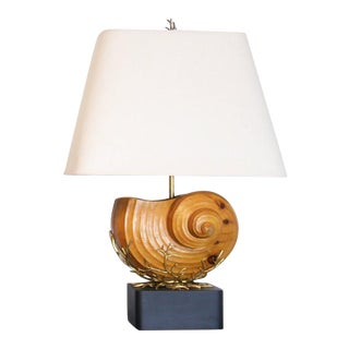 Carved Wood Nautilus Shell Lamps - A Pair For Sale