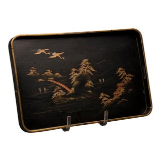 Black lacquer serving tray, China c.1890 For Sale