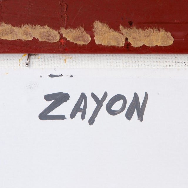 Geometric Abstract Oil on Board by Seymour Zayon For Sale - Image 4 of 6