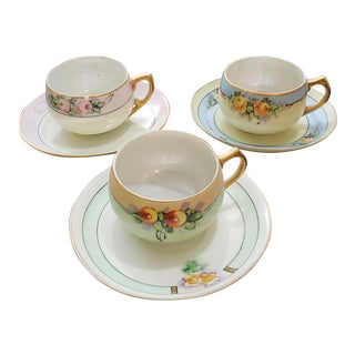 Porcelain Tea Cups and Matching Saucers - Set of 3