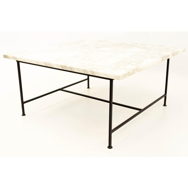 Mid-Century Modern Paul McCobb Style Mid Century Marble and Iron Square Coffee Table For Sale - Image 3 of 6