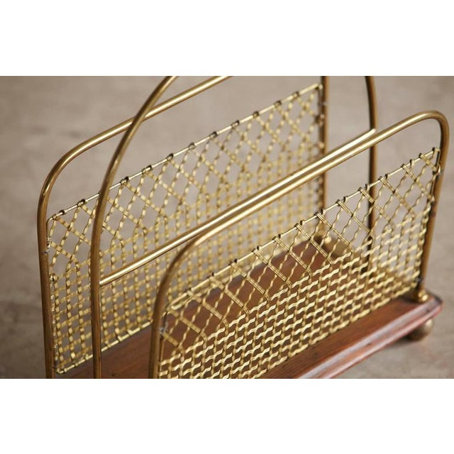 19th Century Aesthetic Movement Woven Brass Canterbury Rack For Sale - Image 4 of 8