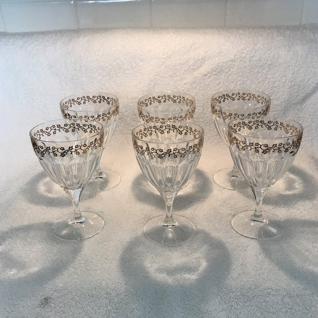 Crystal Goblets With Gold Leaves Trim - Set of 6 - Image 9 of 9