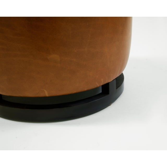 American Round Leather Pouf on Dark Mahogany Base With Circular Detail at Seat For Sale - Image 3 of 6