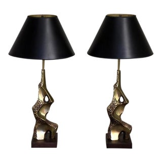 "Mid-Century Laurel ""Torso"" Brass With Walnut Base Sculptural Lamps -a Pair For Sale"