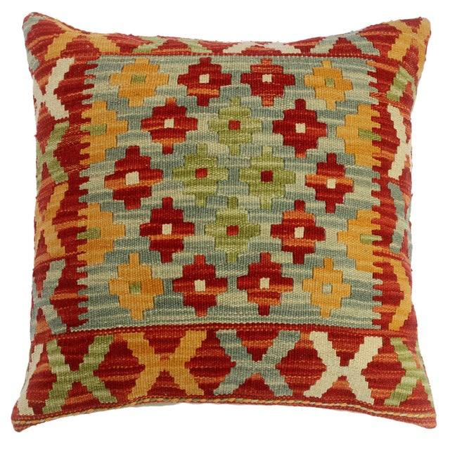 "Chase Red/Gray Hand-Woven Kilim Throw Pillow(18""x18"") For Sale In New York - Image 6 of 6"