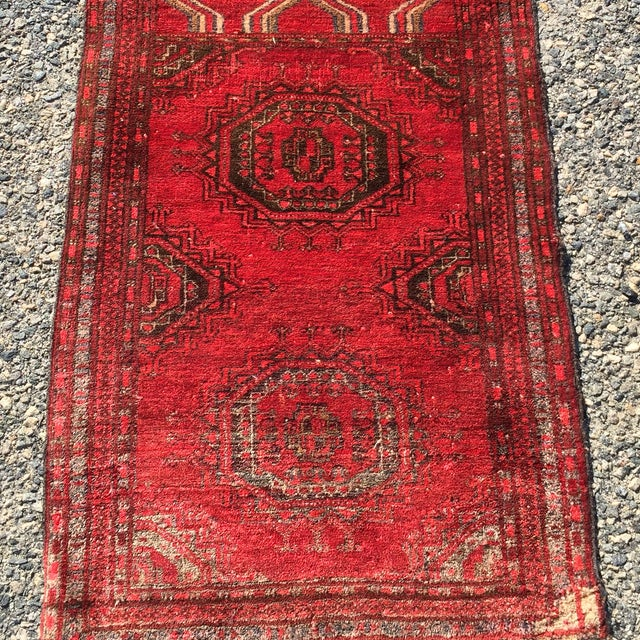 "Antique Turkaman Red Persian Rug - 1'10"" x 2'10"" - Image 3 of 7"
