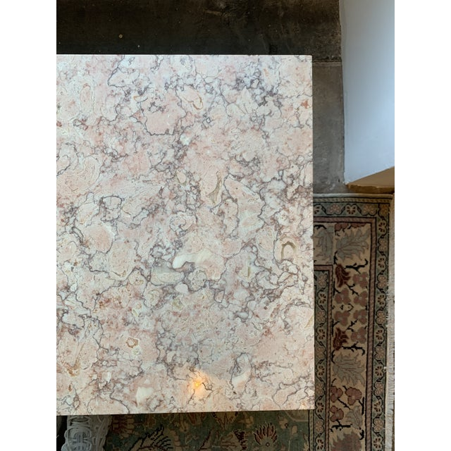 Pink Mid-Century Modern Pink Marble Coffee Table For Sale - Image 8 of 12