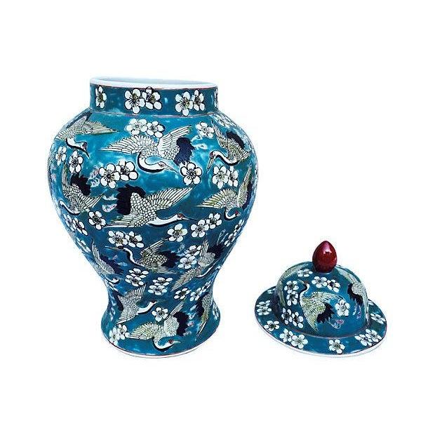 Blue Oriental Crane & Flower Jar - Image 3 of 5