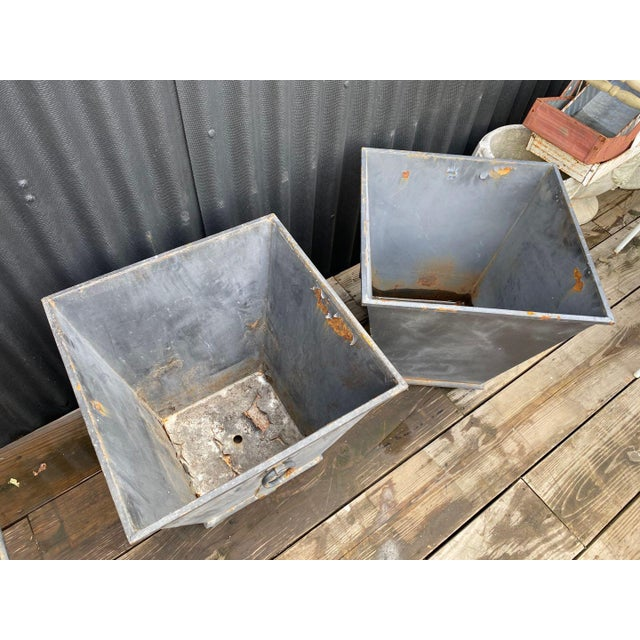 Metal Steel Planters - a Pair For Sale - Image 7 of 8
