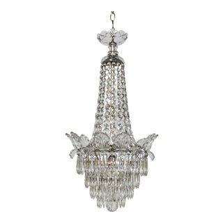 Restored Antique Regency Style Silver and Crystal Chandelier For Sale