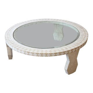 Tavola by Oggetti Mediterranean Style Tessellated Stone and Glass Round Cocktail Table For Sale