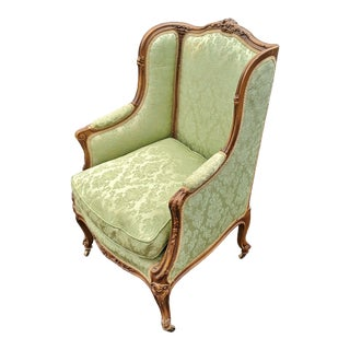 Late 19th Century French Green Upholstered Carved Walnut Chair For Sale