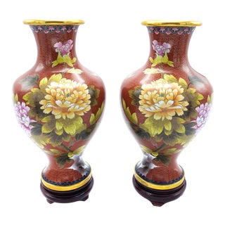 Vintage Jingfa Chinese Hand Made Cloisonne Brass Enamel Vases on Stands - Set of 2 For Sale