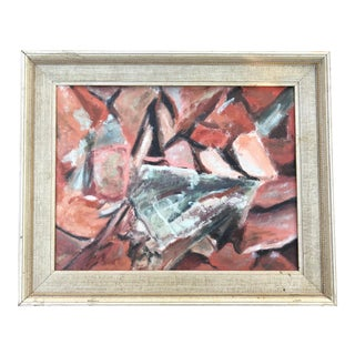 Vintage Abstract Shapes Oil Painting For Sale