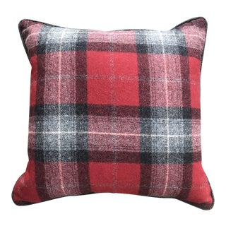 British Tartan Plaid Pillow: Red and Gray Plaid With Gray Flannel Piping on Reverse (New) For Sale
