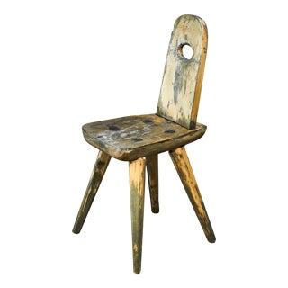 Folk Art Wooden Side Chair, Sweden, Circa 1900 For Sale
