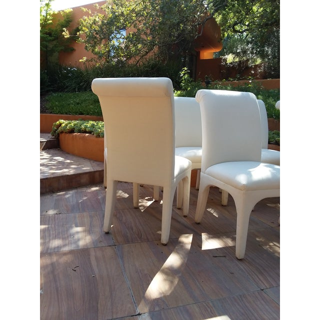 1990s 1980s Vintage Upholstered Parsons Chairs - Set of 8 For Sale - Image 5 of 13