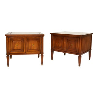 Midcentury Italian Walnut End Tables Inset With Travertine Tops For Sale