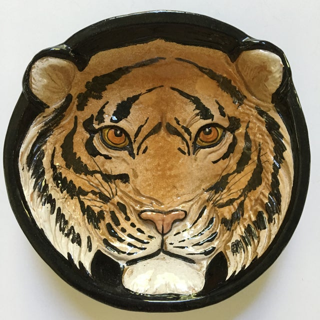 Mid-Century Large Tiger Face Pottery Bowl/Catchall - Made in Italy For Sale - Image 13 of 13