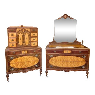 Antique Burled Walnut Three Piece Dresser Set With Mirror For Sale