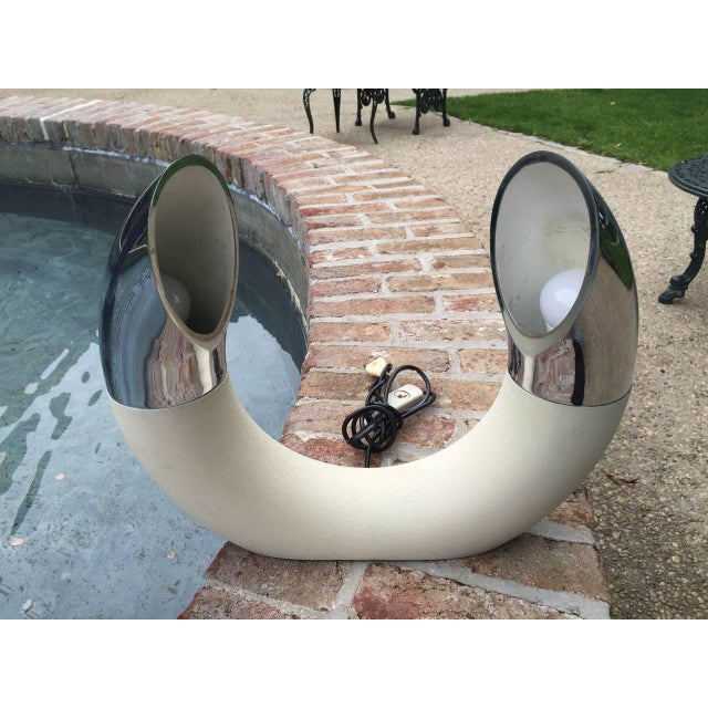 """""""U"""" form design with two articulating lights in chrome on painted iron base. Extremely rare! By E. Bosi (Designer),..."""