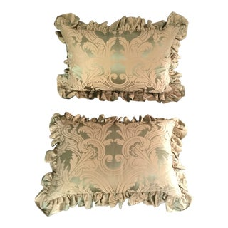 Green & Gold Silk Damask Pillow Shams - A Pair For Sale