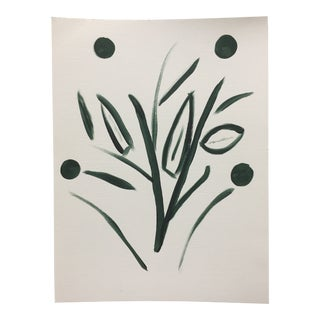 Minimalist Botanical Acrylic on Canvas Paper Painting For Sale