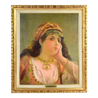 Antique 1886 Oil Painting Bedouin or Gypsy Woman W Gold Jewelry by J. Molnar For Sale