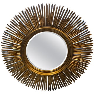 Baker Sunburst Gold Finished Mirror For Sale