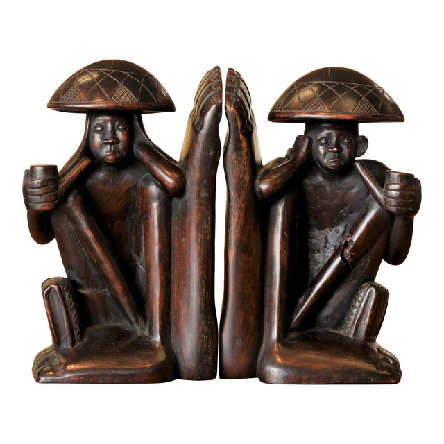 Traditional Carved Figural Book Ends - a Pair For Sale