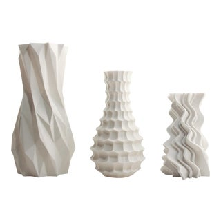 Abstract Funky White Modern 3D Printed Plastic Vases - Set of 3