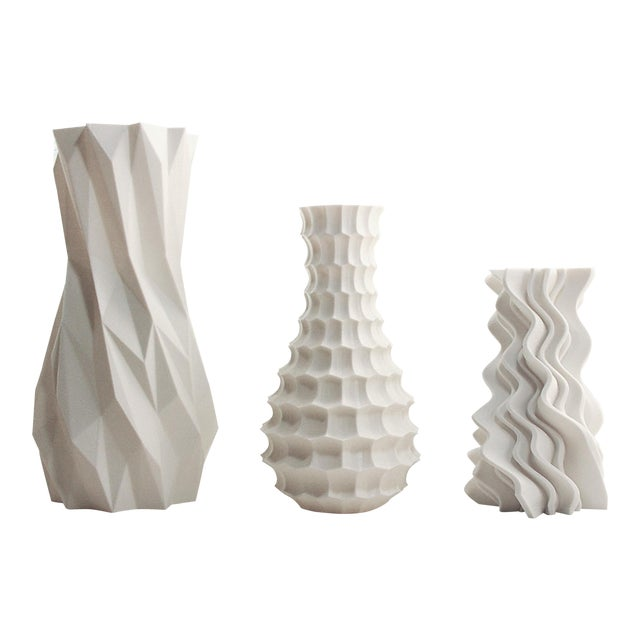 Abstract Funky White Modern 3d Printed Plastic Vases Set Of 3