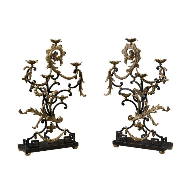 18th Century Rococo Style Iron and Brass Candle Holders by Theodore Alexander - a Pair For Sale - Image 13 of 13