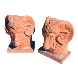 Vintage 1950s Terra Cotta Sheep Heads - a Pair For Sale