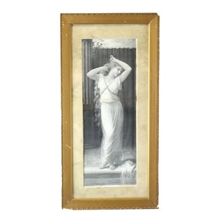 Late 19th Century Antique Jules Delaroche 'Sweet Reflections' Victorian Art Nouveau Print For Sale